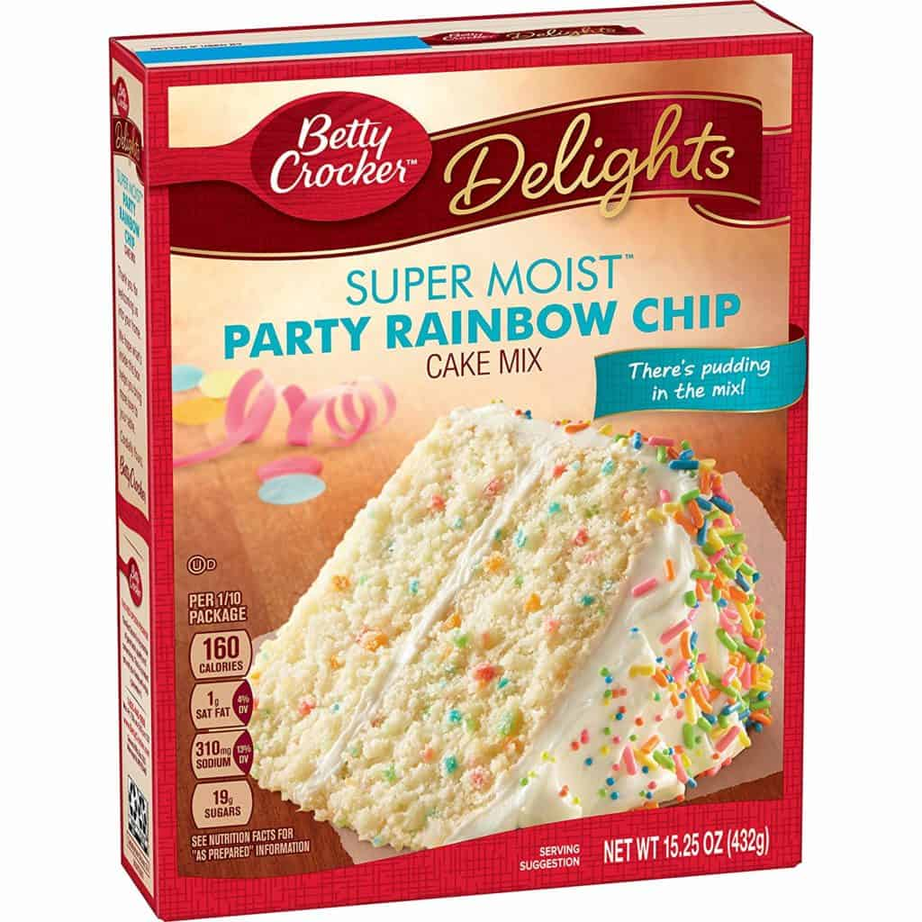 First stop, the Betty Crocker's Rainbow Chip Cake Mix